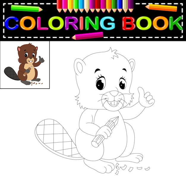 Libro Da Colorare Castoro Scaricare Vettori Premium