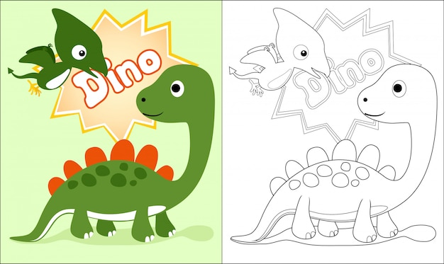 Libro da colorare con simpatico cartone animato di dinosauri Vettore Premium
