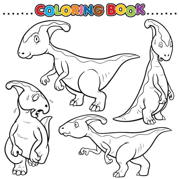 Libro da colorare del fumetto - personaggio dei dinosauri Vettore Premium