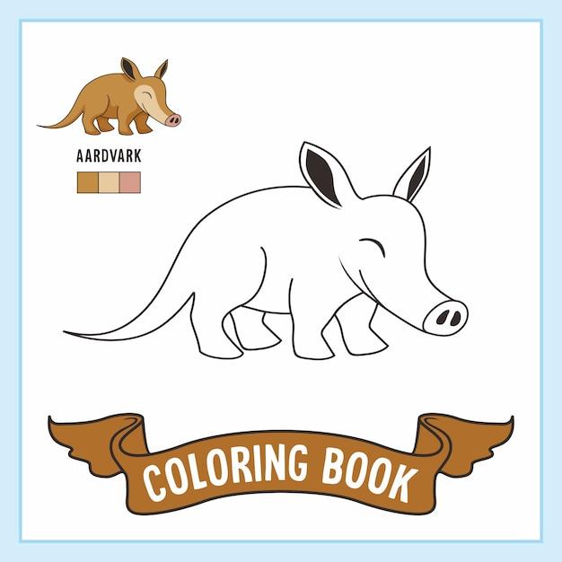 Libro da colorare di animali aardvark Vettore Premium