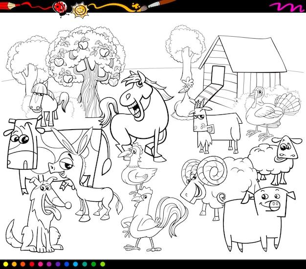 Libro da colorare di animali da fattoria dei cartoni animati Vettore Premium