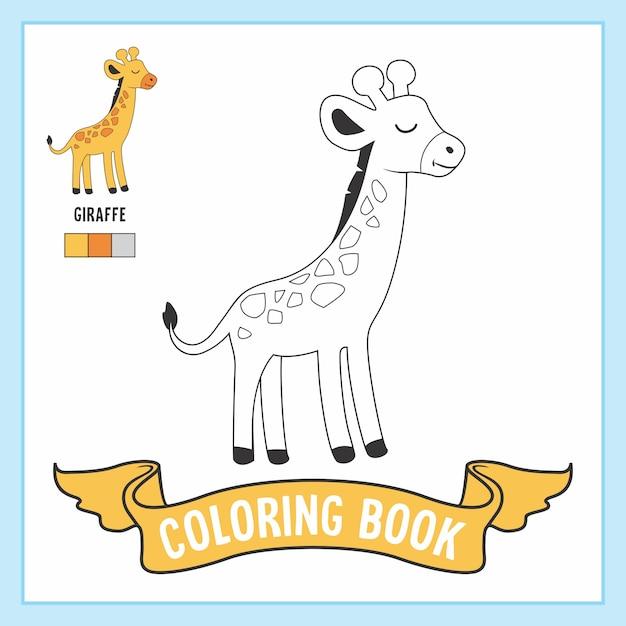 Libro da colorare di animali da giraffa Vettore Premium
