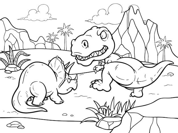 Libro da colorare di cartoni animati - dinosauri che combattono Vettore Premium