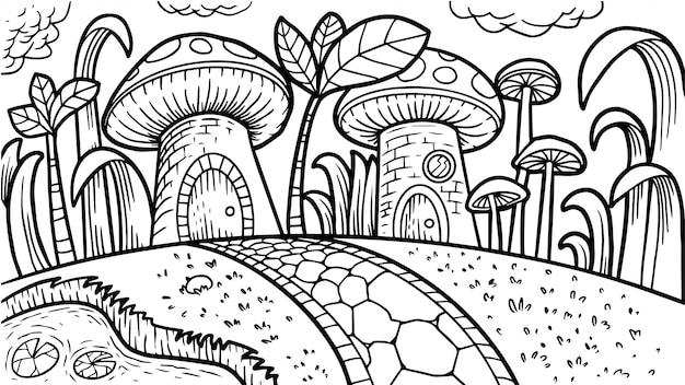 Libro da colorare di funghi Vettore Premium