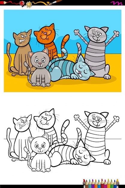 Libro da colorare di gatti personaggi animali gruppo Vettore Premium