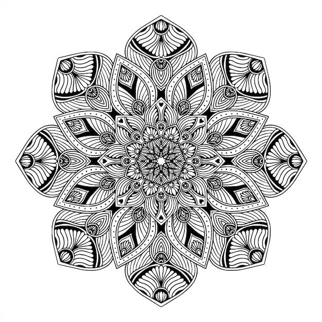Libro da colorare di mandala, terapia orientale, loghi di yoga vettore. Vettore Premium