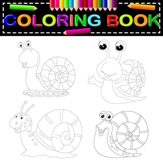Libro da colorare lumaca Vettore Premium