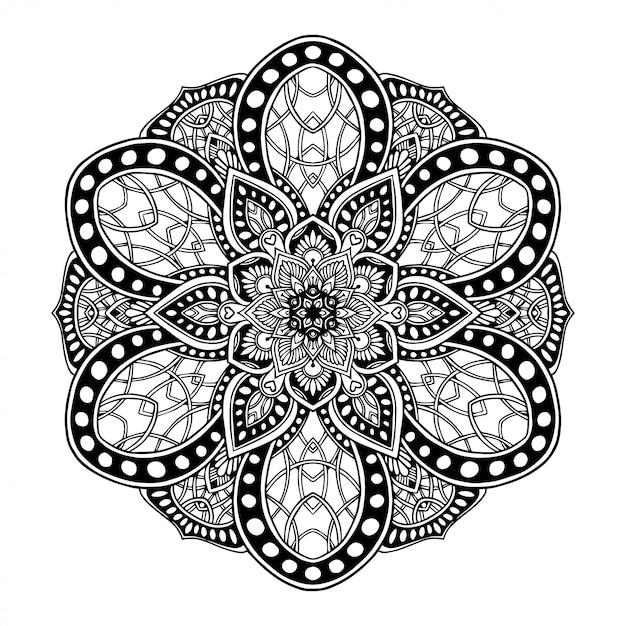 Libro da colorare mandala, terapia orientale, yoga. Vettore Premium