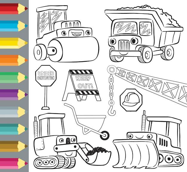 Libro da colorare o con cartoni animati divertenti veicoli da costruzione Vettore Premium