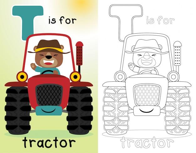 Libro da colorare o pagina con agricoltore divertente sul trattore rosso Vettore Premium