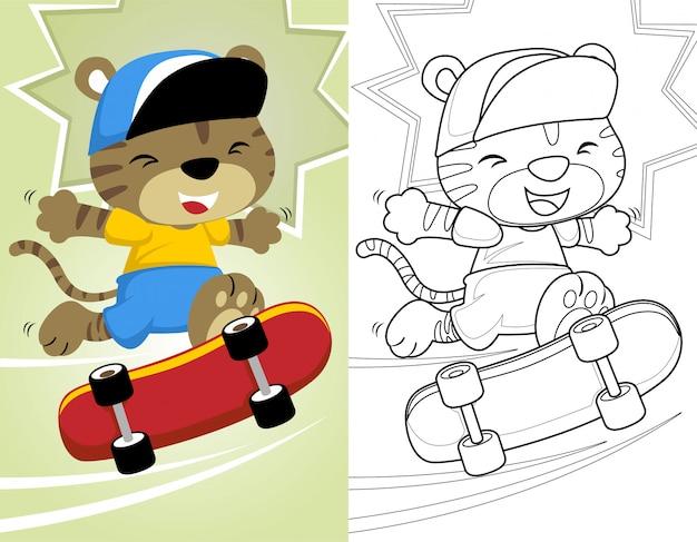 Libro Da Colorare O Pagina Con Piccolo Gatto Che Gioca A