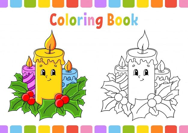 Candele Natalizie Da Colorare Per Bambini.Libro Da Colorare Per Bambini Candele Natalizie Personaggio Dei Cartoni Animati Illustrazione Vettoriale Vettore Premium