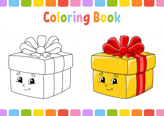 Libro da colorare per bambini. carattere allegro. illustrazione vettoriale stile cartone animato carino. pagina di fantasia per bambini. Vettore Premium