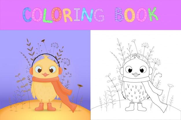 Libro da colorare per bambini con animali cartoon. compiti educativi per bambini in età prescolare pollo dolce Vettore Premium