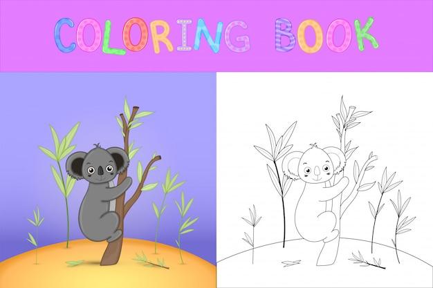Libro da colorare per bambini con animali cartoon. compiti educativi per bambini in età prescolare simpatici koala Vettore Premium