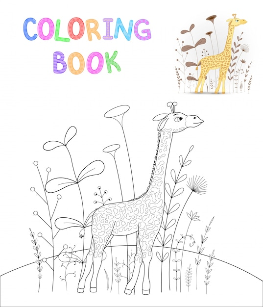 Libro da colorare per bambini con animali cartoon Vettore Premium