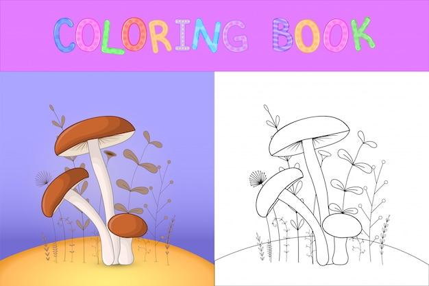 Libro da colorare per bambini con animali cartoon. Vettore Premium