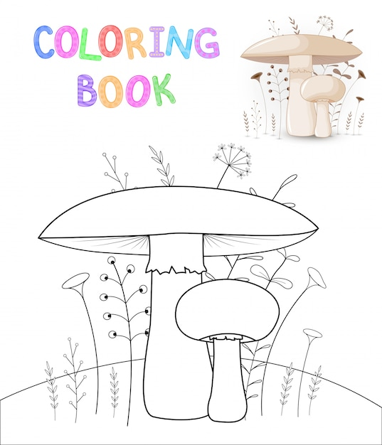 Libro da colorare per bambini con animali dei cartoni animati. funghi carini Vettore Premium