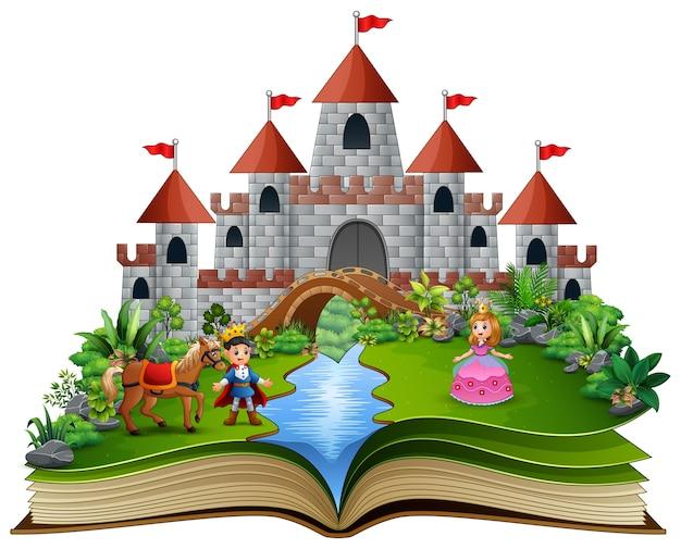 Libro delle storie con principesse dei cartoni animati Vettore Premium