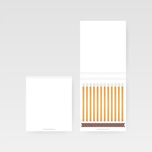 Libro di fiammiferi vettoriale. vista dall'alto chiuso vuoto aperto. illustratrion stock vettoriale. Vettore Premium