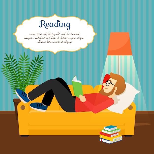 Libro di lettura del giovane sul sofà comodo Vettore Premium