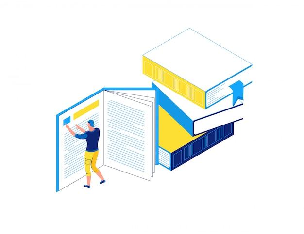 Libro di lettura dell'uomo, concetto isometrico delle biblioteche Vettore Premium