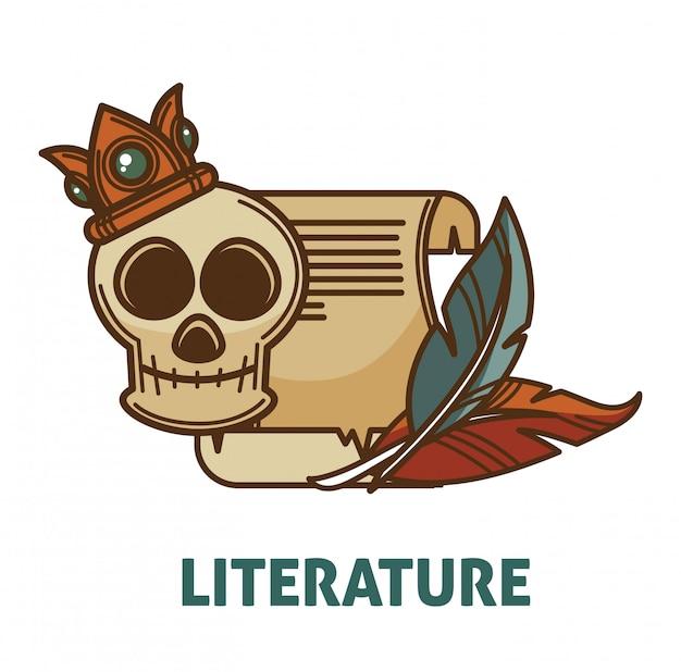 Libro di poesia e letteratura antica vintage con icona isolata vettore del cranio per la progettazione di librerie di letteratura o libreria di poesie Vettore Premium