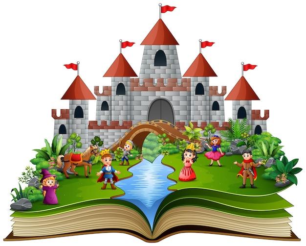 Libro di storia con cartone animato della storia reale Vettore Premium