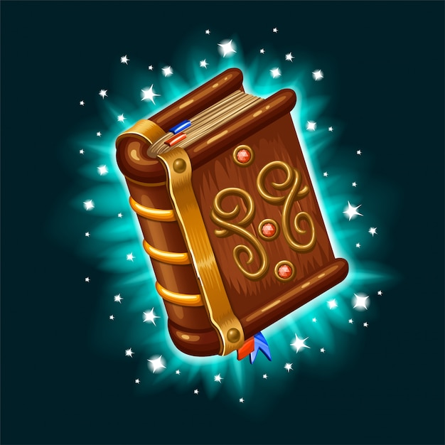 Libro isometrico di incantesimi e stregonerie. Vettore Premium