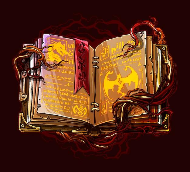 Libro magico incantesimo aperto del fumetto con le radici degli alberi Vettore Premium