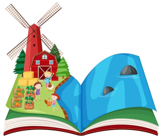 Libro pop-up di scena agricola Vettore gratuito