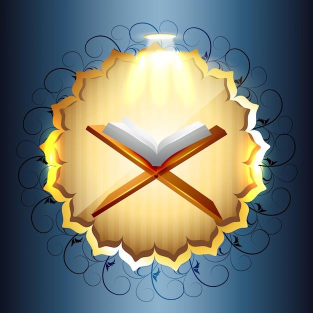 Libro religioso di illustrazione vettoriale di quraan Vettore gratuito