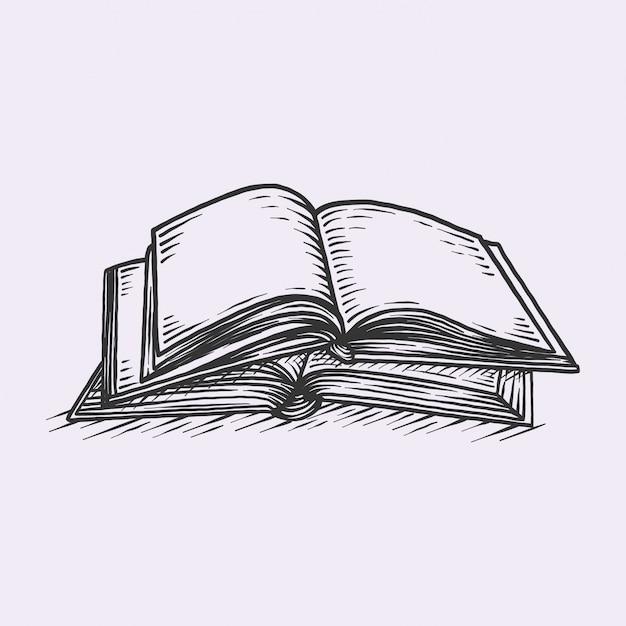 Libro vintage disegnato a mano Vettore Premium