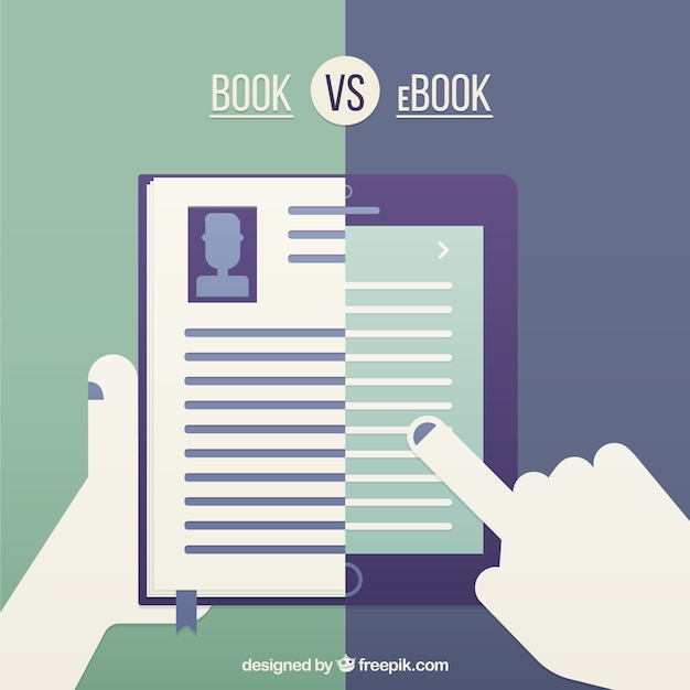 Libro vs ebook Vettore gratuito