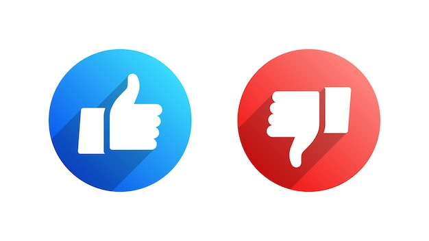 Like and dislike icone piane Vettore Premium