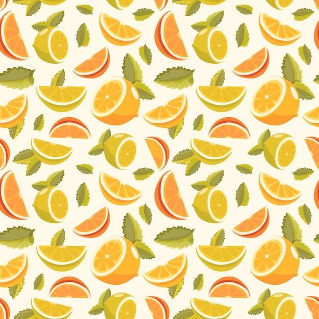 Limone e lime limonata senza cuciture. limonata sfondo verde senza soluzione di continuità. Vettore gratuito