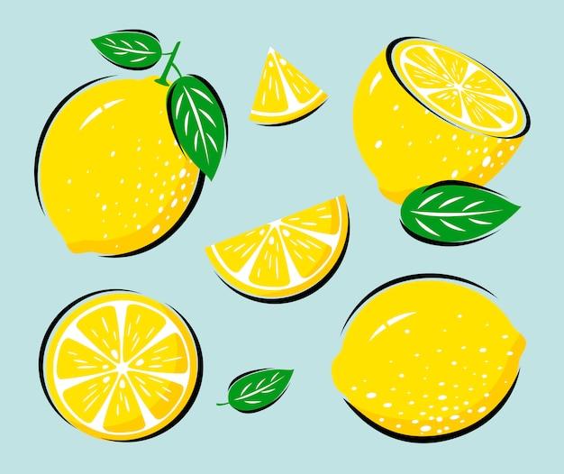 Limone giallo con foglie Vettore Premium