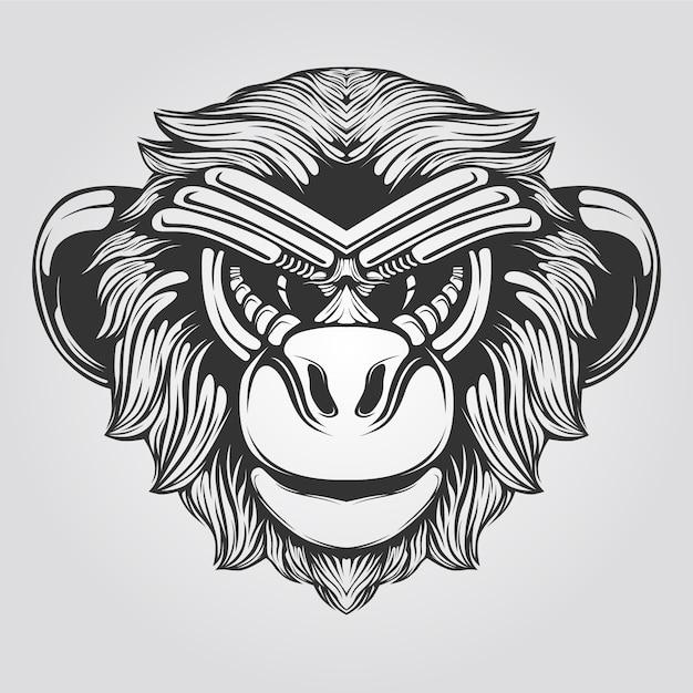 Line art in bianco e nero di scimmia Vettore Premium