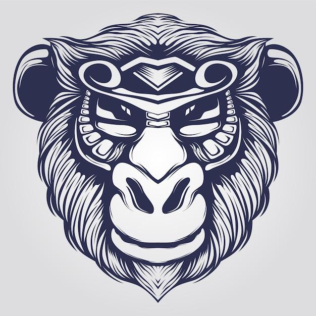 Line art scimmia Vettore Premium