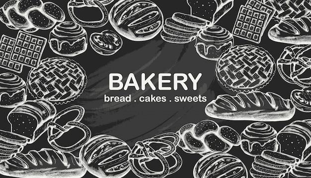 Line art set di prodotti da forno tra cui vari tipi di pane e torte Vettore gratuito