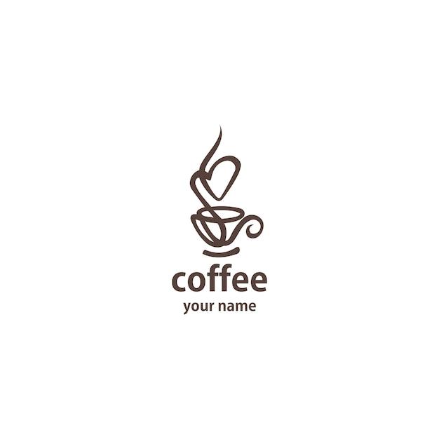 Linea arte del modello di vettore di progettazione di logo del caffè. Vettore Premium