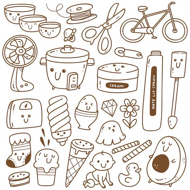 Linea arte della collezione doodle kawaii, adatta per la colorazione Vettore Premium