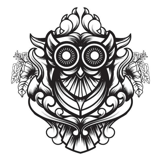 Linea arte della geometria sacra ornamentale del gufo Vettore Premium