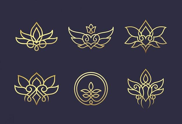 Linea arte floreale logo design Vettore Premium