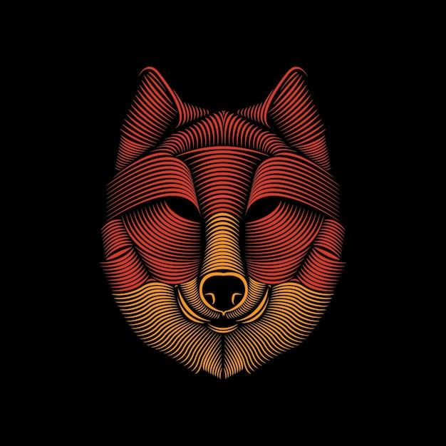 Linea arte illustrazione del lupo Vettore Premium
