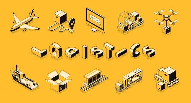 Linea arte logistica aziendale, banner vettoriale isometrica. Vettore gratuito