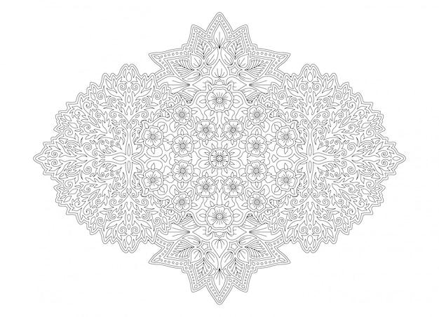 Linea arte per libro da colorare con fiori Vettore Premium