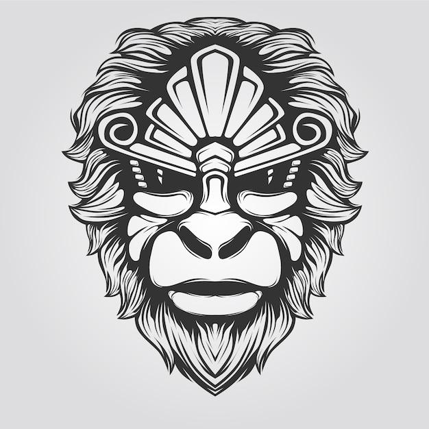 Linea arte scimmia in bianco e nero Vettore Premium