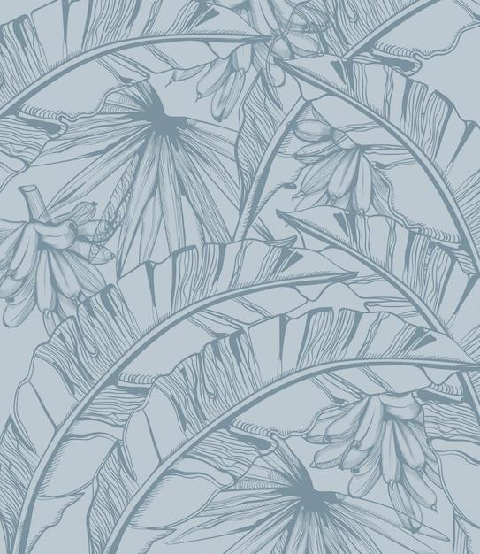 Linea arte tropicale del modello delle banane e delle foglie di palma. poster estivi decorazioni esotiche Vettore Premium