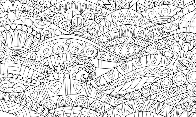 Linea astratta flusso ondulato di arte per fondo, libro da colorare adulto, illustrazione della pagina da colorare Vettore Premium